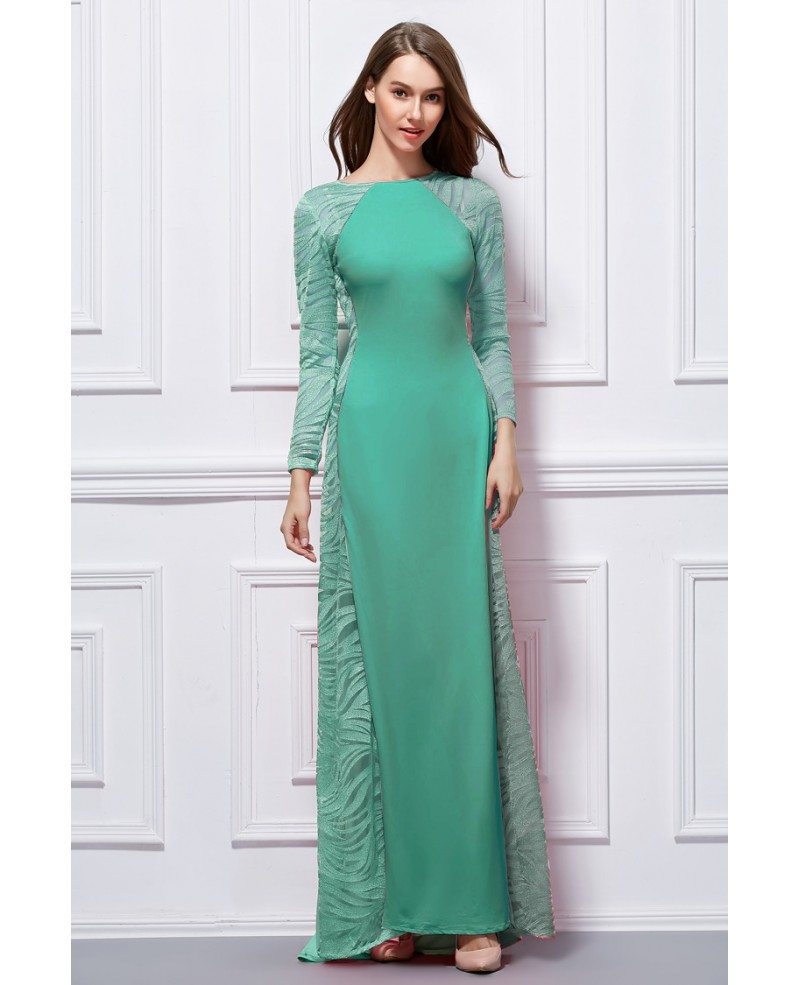 Elegant A-Line Cotton Evening Dress With Long Sleeves #CK427 $109.6 ...
