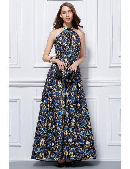 Quick Ship Fashionale A Line Halter Floral Print Long Wedding Guest Dress