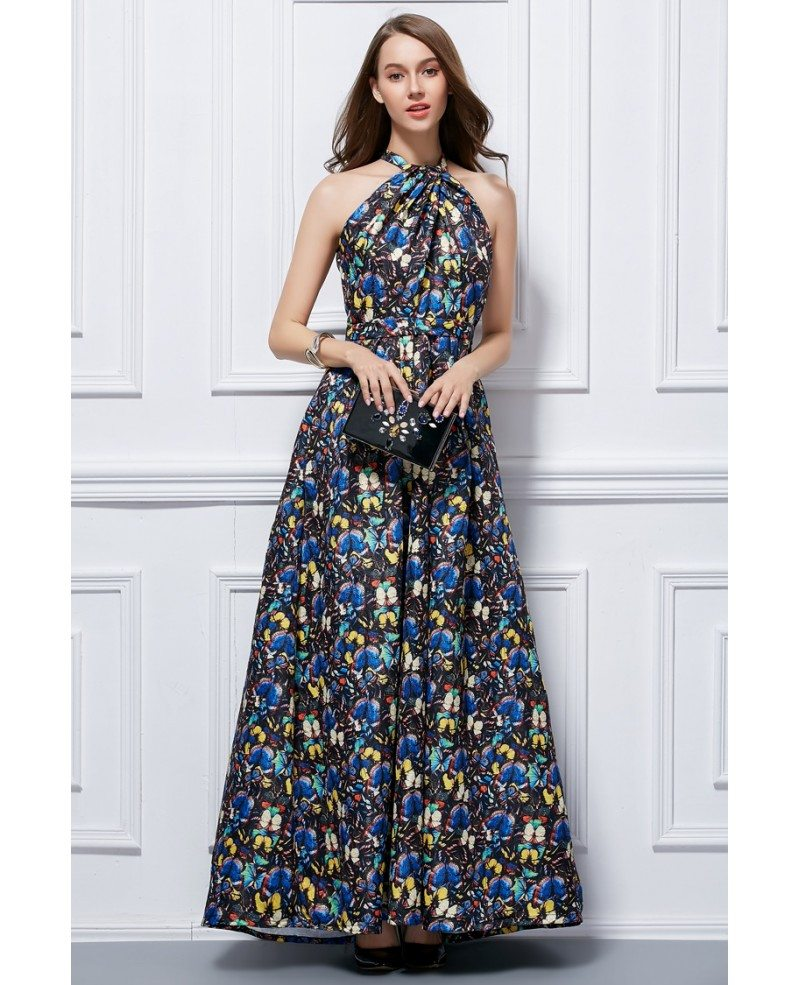Long Gowns For Wedding Guests: Fashionale A-Line Halter Floral Print Long Wedding Guest