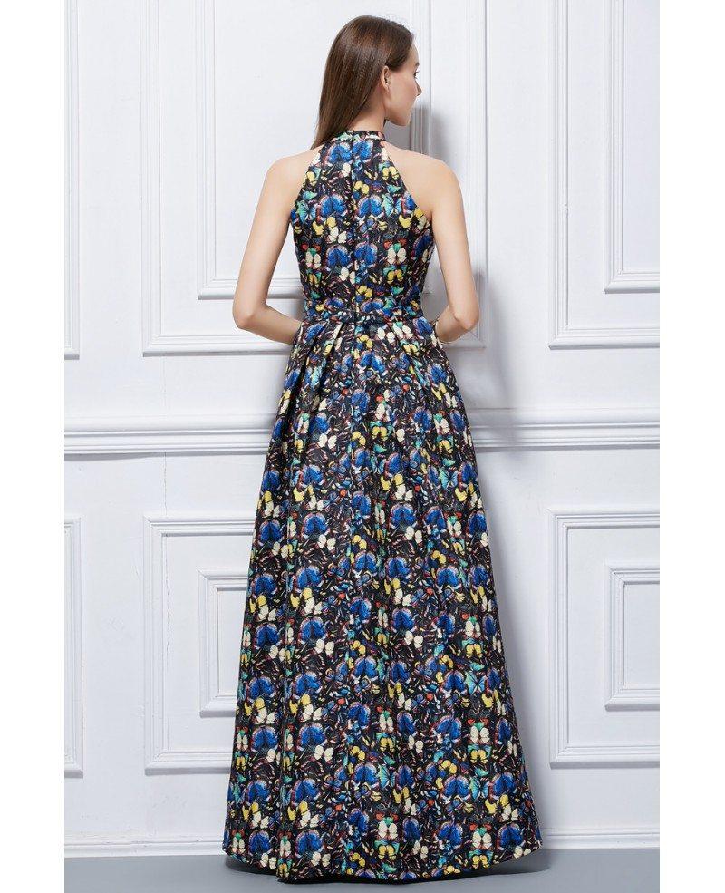 Fashionale a line halter floral print long wedding guest for Floral wedding guest dresses