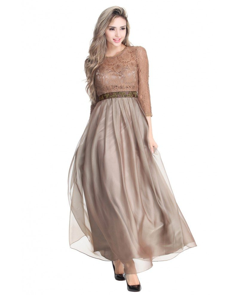 Elegant A-Line Chiffon Lace Long Formal Dress With Sleeves ...