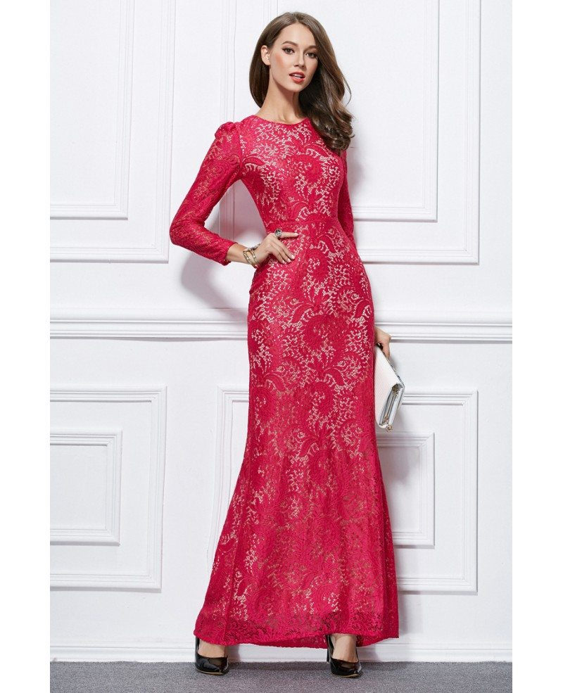 elegant sheath lace long evening dress with long sleeves