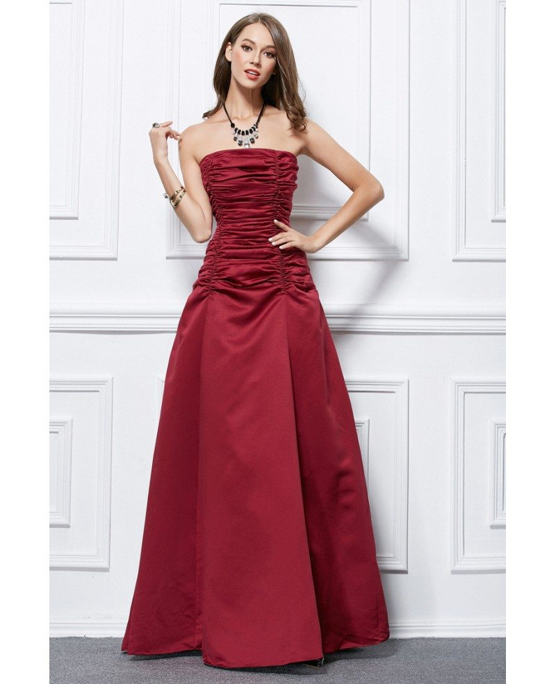 Elegant Ball-Gown Satin Pleated Long Evening Dress #CK438 $60.8 ...