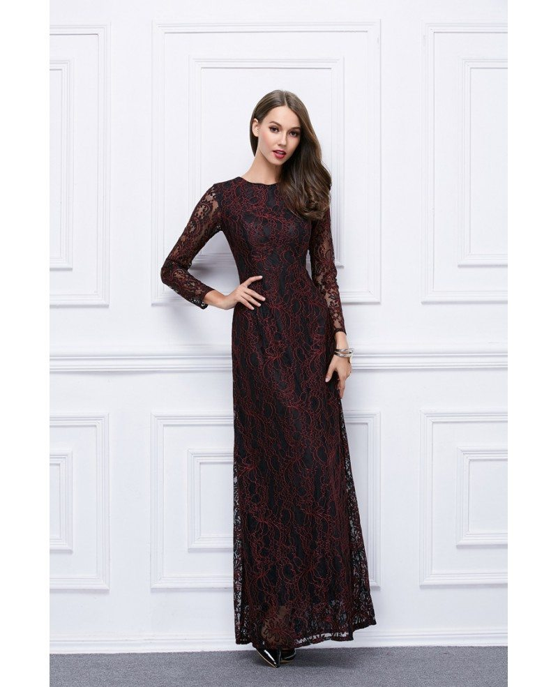 Modest A Line Lace Long Formal Dress With Sleeves Ck450