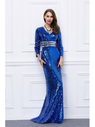 Amazing Sheath Sequined Sweep Train Evening Dress With Sleeves