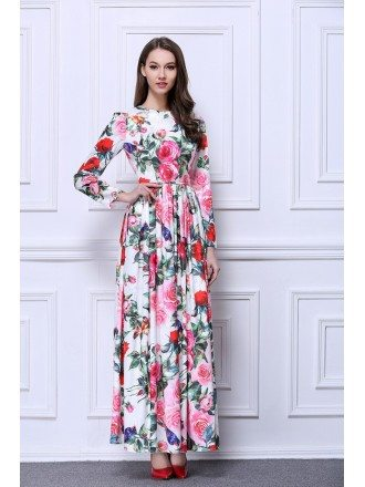 BOHO Floral Printed Chiffon Long Wedding Guest Dress With Long Sleeves