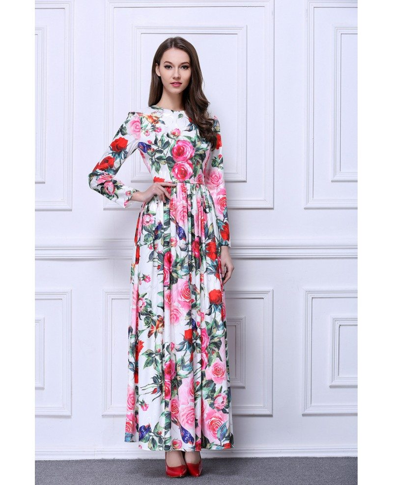 BOHO Floral Printed Chiffon Long Wedding Guest Dress With