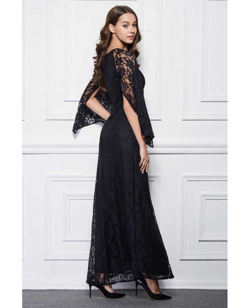 Elegant A-Line Black Lace Long Formal Dress With Cape Sleeves #CK494 ...