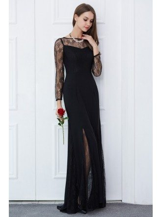 Elegant Sheath Lace Long Formal Dress With Long Sleeves
