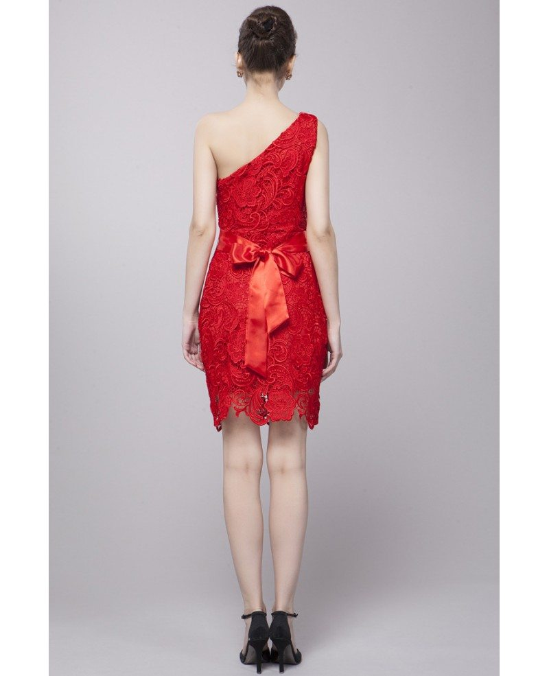 One Shoulder Hot Red Lace High Low Dress Ck76 92 2