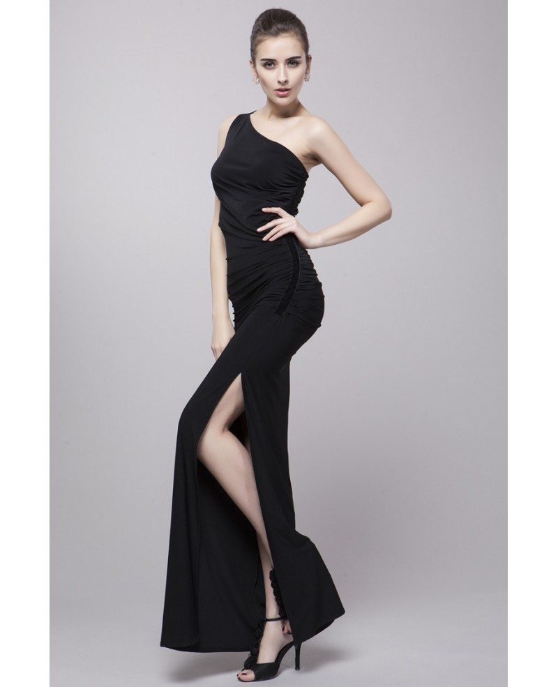 High Fashion Sheath One Shoulder Polyeste Dress With Split