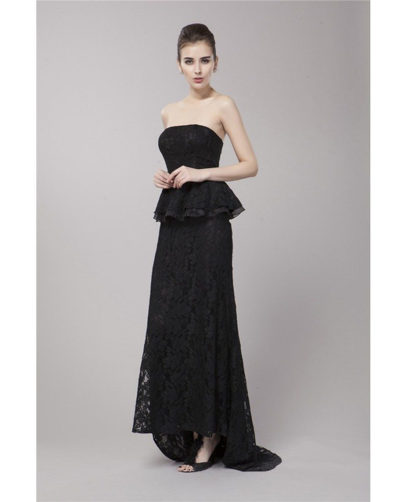 Elegant Black Strapless Lace Long Evening Dress With Sweep Train ...