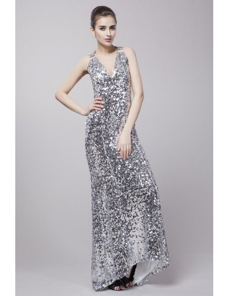 Sexy Sheath V Neck Sequined Long Prom Dress With Sweep Train Ck91