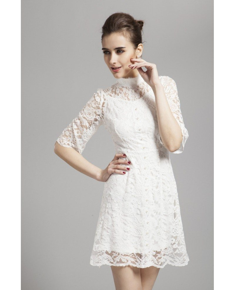 Gorgeous High Neck White Lace Cocktail Dress with Long Sleeves ...