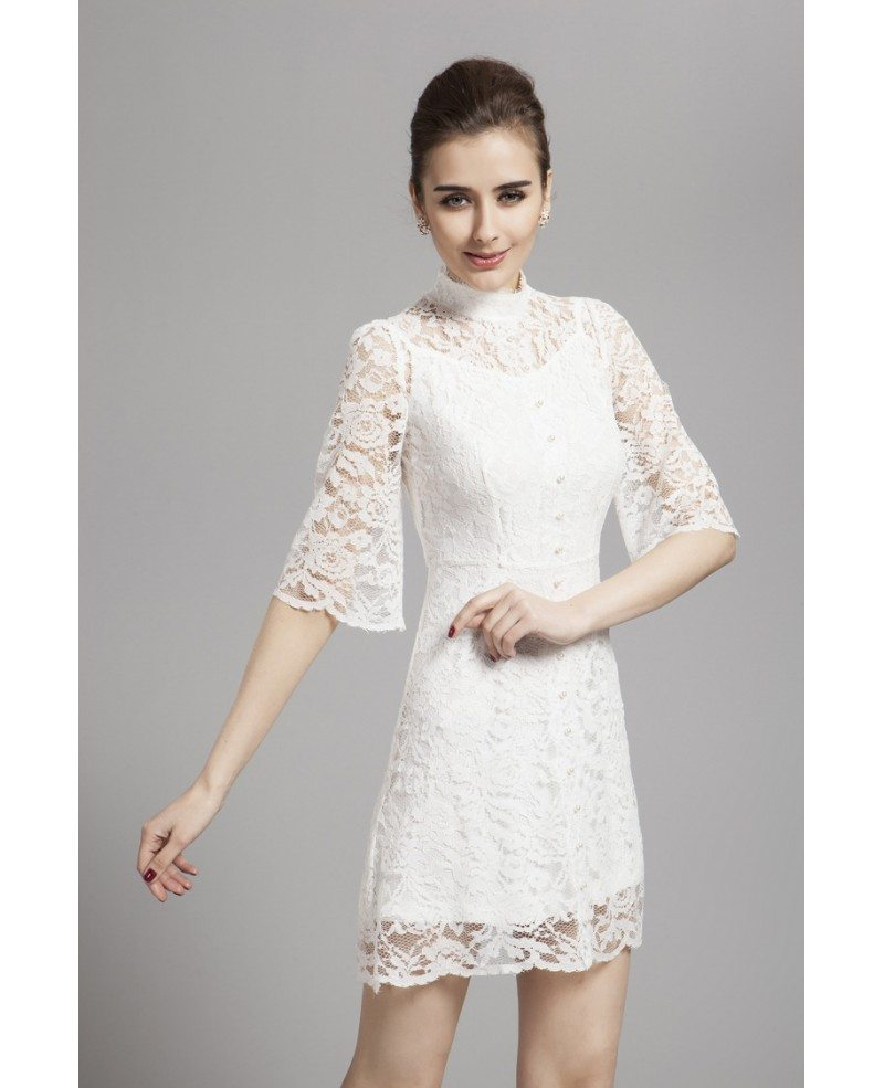 gorgeous high neck white lace cocktail dress with long