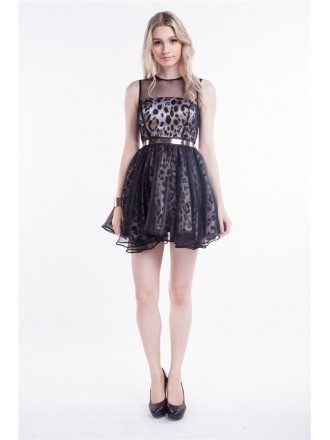 Stylish Leopard Print Tulle Short Prom Dress With Ruffle