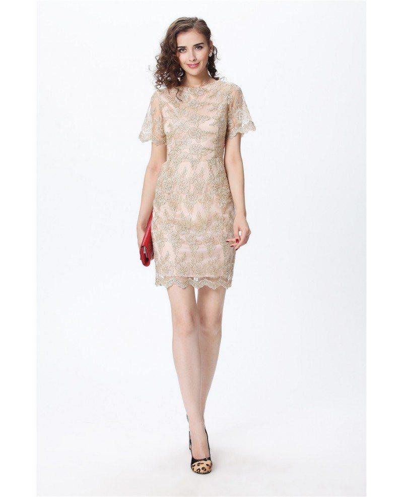 Full Lace Short Sleeved Vintage Champagne Cocktail Dress #DK185 ...