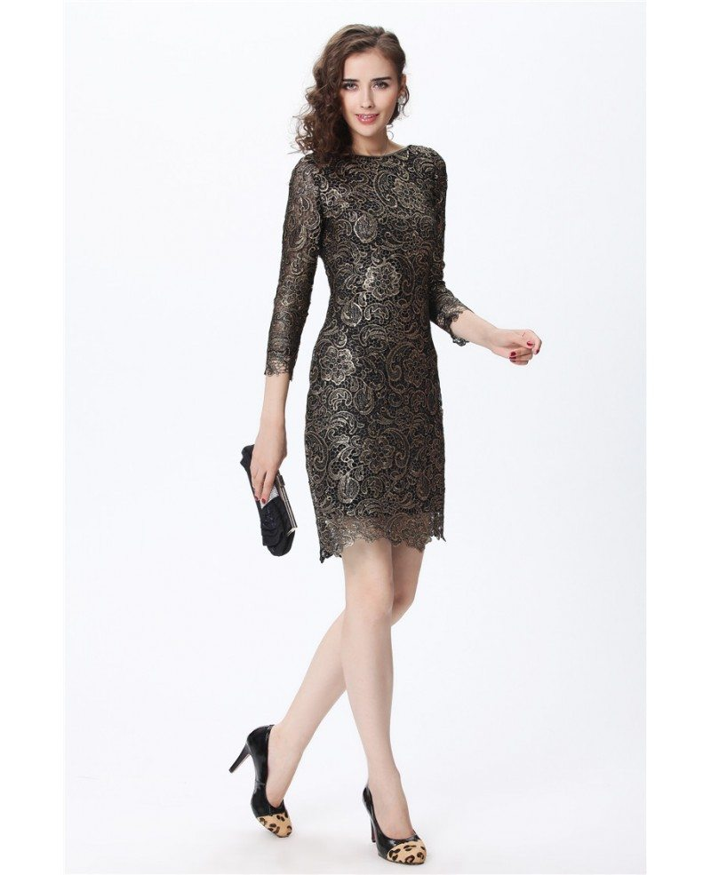 Luxe Black with Gold Lace 3/4 Sleeve Cocktail Dress #DK189 $96 ...