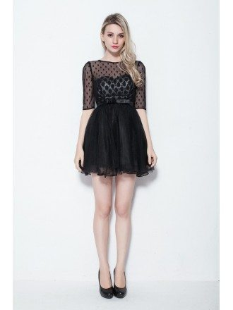 Unique Dotted Sleeves Cocktail Tulle Black Dress