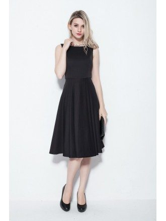 Gothic Simple Tea Length Black Dresses