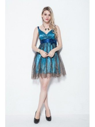 Blue and Black Floral Bronzing Tulle Beaded Dress for Girls