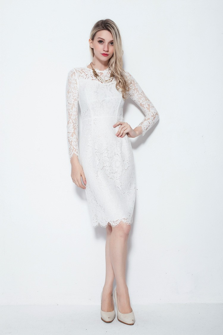 Modest Sleeved Knee Length White Dresses In Full Lace