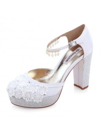 Lace Heel Closed Toe Platform Pumps With Pearl Imittaion Rhinestone Style