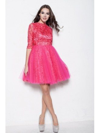 Modest Long Lace Sleeves Tulle Fuschia Homecoming Dresses in Cocktail Length
