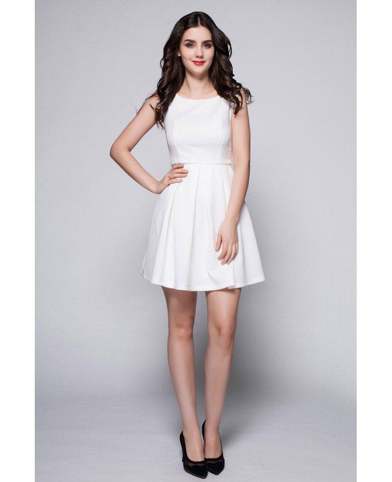 little white high neck simple short dress dk244 667
