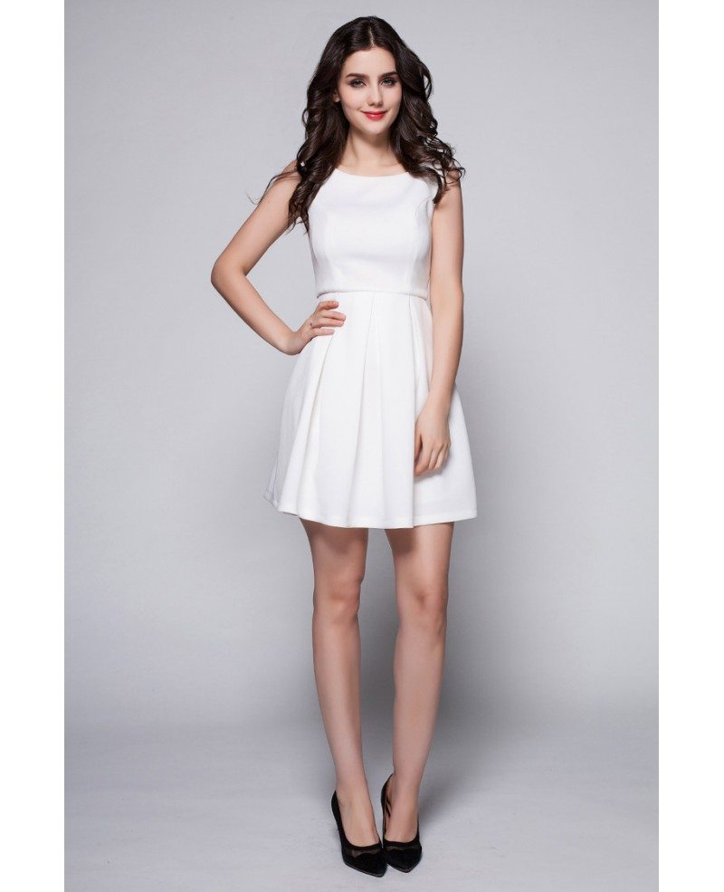 little white high neck simple short dress dk244 667