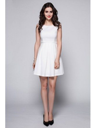 Little White High Neck Simple Short Dress