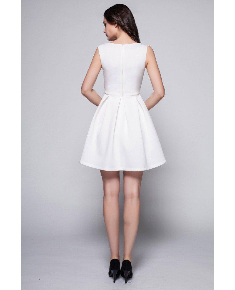 Little White High Neck Simple Short Dress Dk244 667 -3841