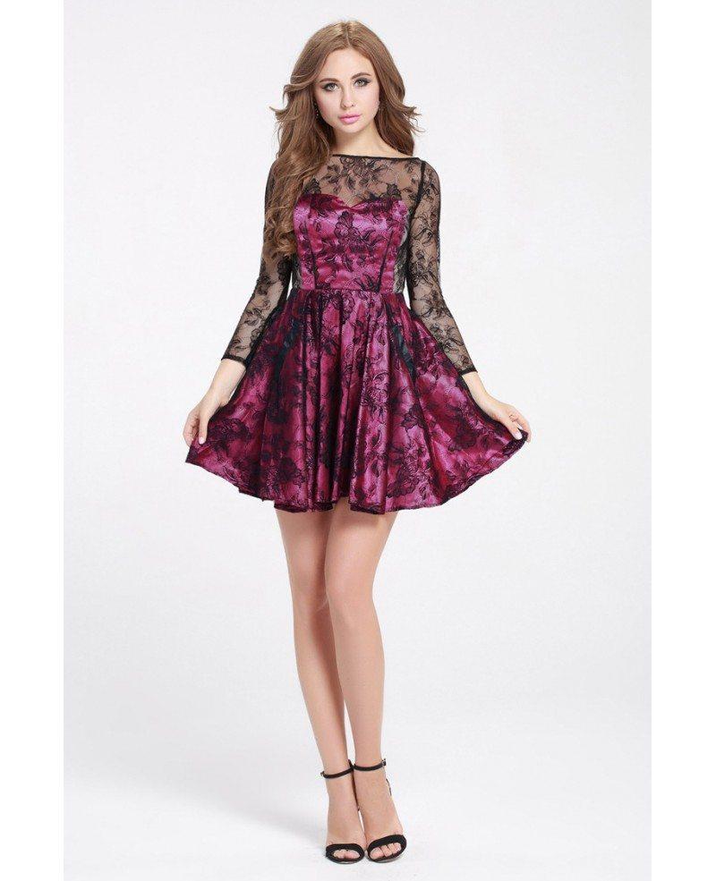 Purple And Black Lace 3/4 Sleeve Short Dress #DK249 $68.4 - GemGrace.com