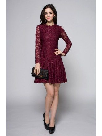 Cute Purple Long Lace Sleeves High Neck Short Dress