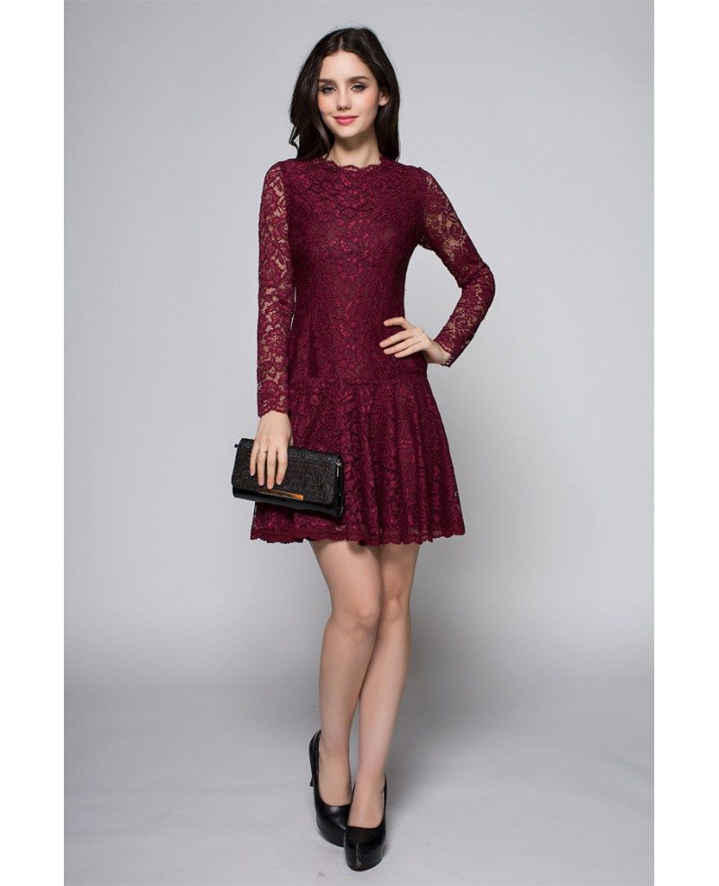 Cute Purple Long Lace Sleeves High Neck Short Dress #DK254 $72.7 ...
