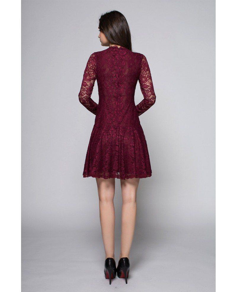 Cute Purple Long Lace Sleeves High Neck Short Dress Dk254