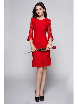 Romantic Rose Red Three Quarter Lace Sleeve Dress