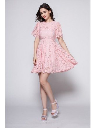 Beautiful Pink Lace Cute Lace Short Dress