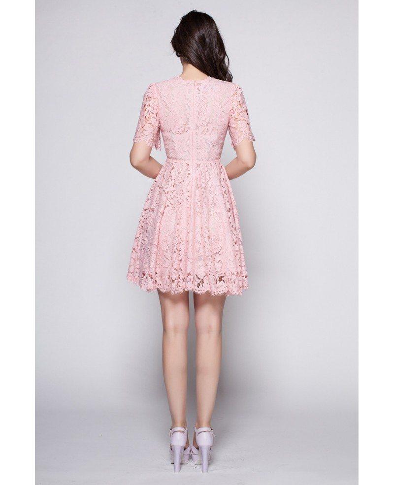 Beautiful Pink Lace Cute Lace Short Dress #DK260 $74.4 ...