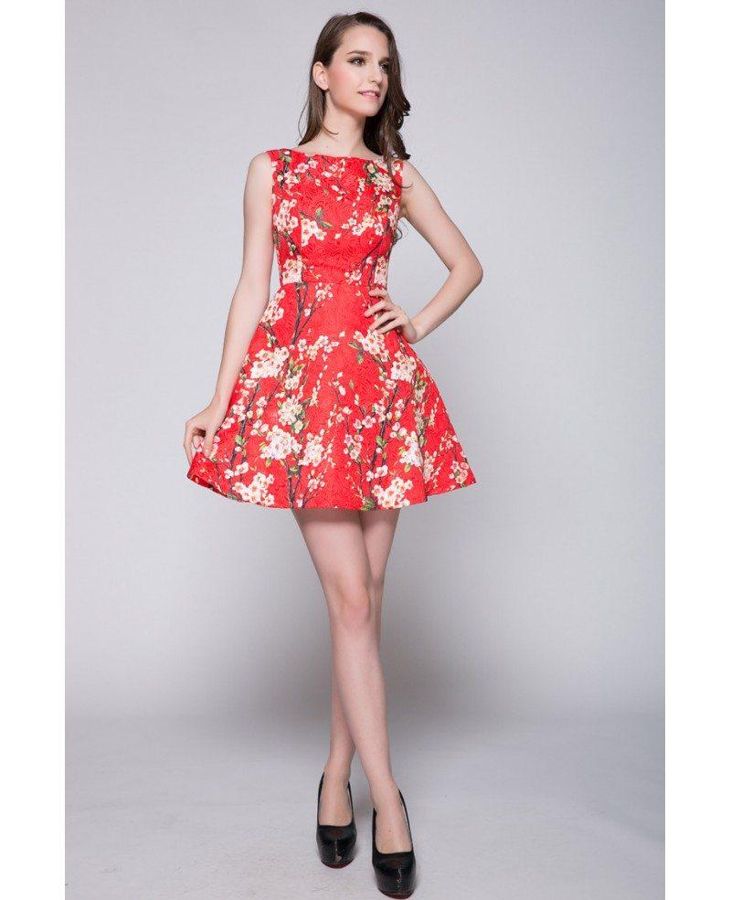 Wedding Party Dress: Elegant Floral Prints Short Summer Wedding Party Dress