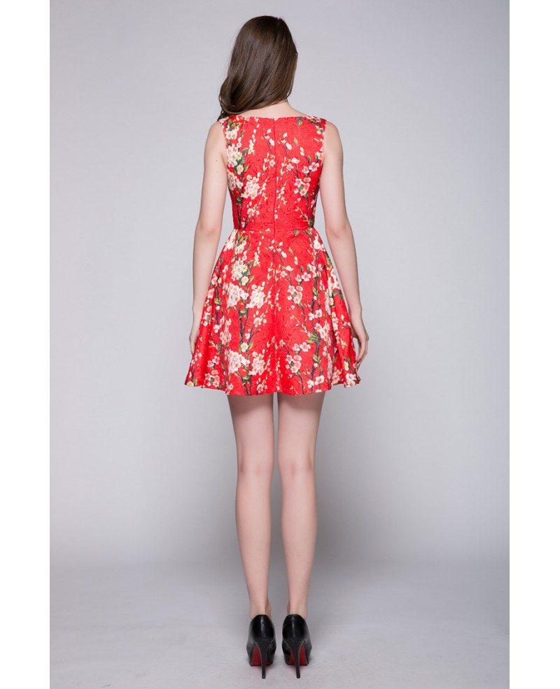Elegant floral prints short summer wedding party dress for Summer dresses for wedding