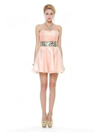 Chic Strapless Tulle Short Prom Dress With Beading