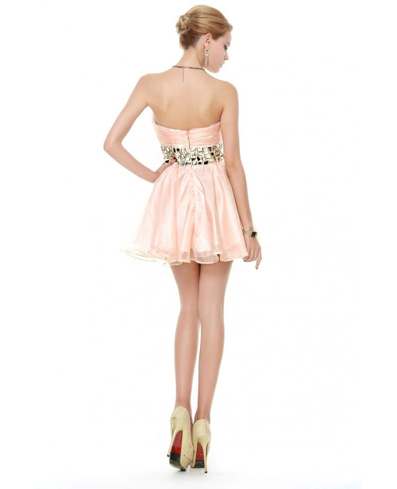 Chic Strapless Tulle Short Prom Dress With Beading Dk267p