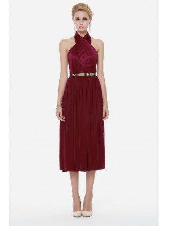 Royal Burgundy Red Halter Short Dress Open Back