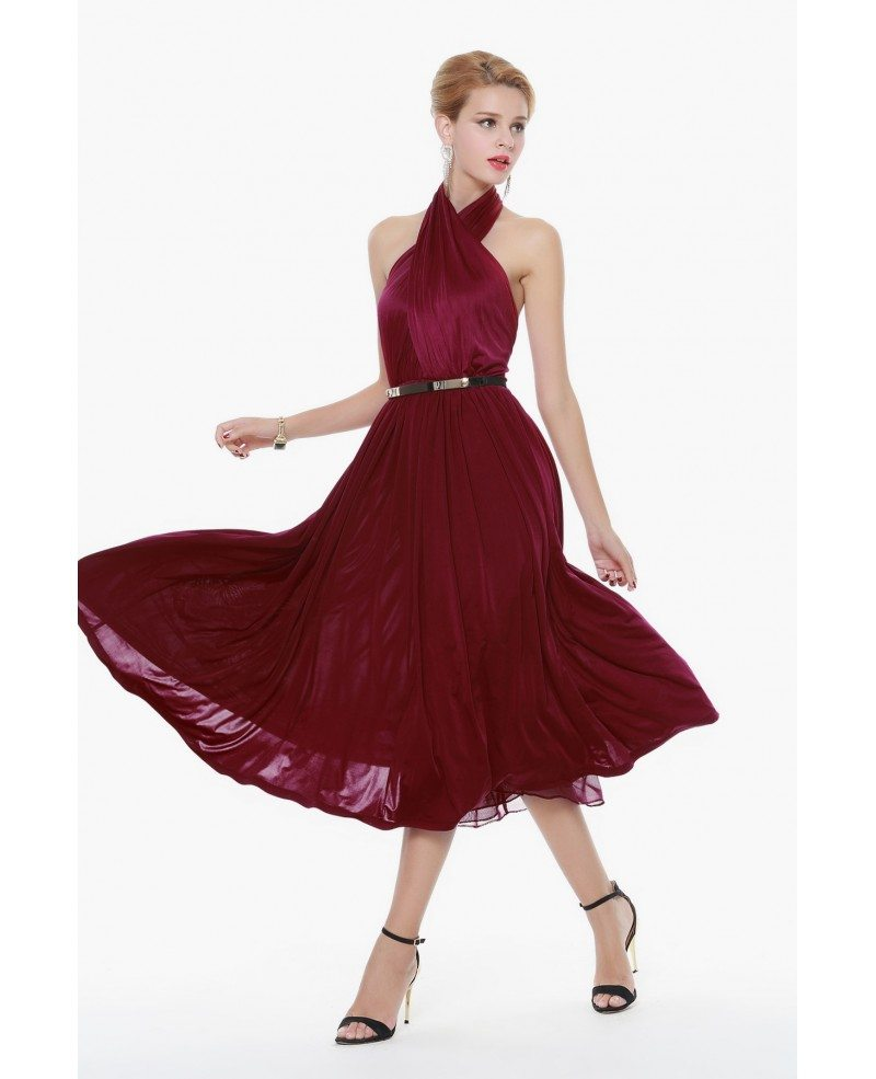 Royal Burgundy Red Halter Short Dress Open Back Dk270 78