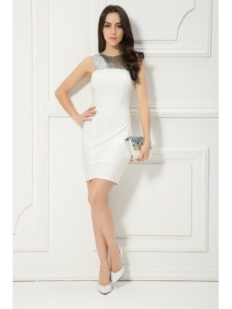 Stylish Sheath Short Cooktail Dress With Sequins