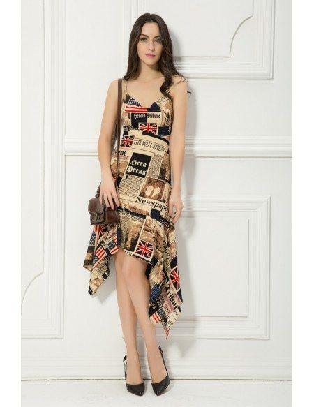 Chic asymmetrical halter printed wedding guest dress for Halter dress wedding guest