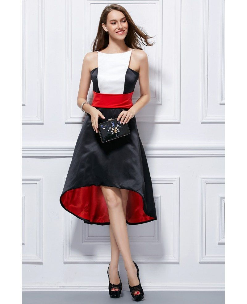 Chic high low satin wedding guest dress dk288 72 7 for High low wedding guest dresses