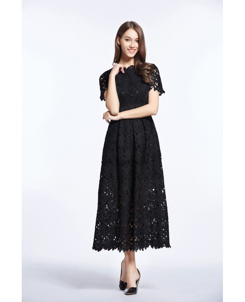 Vintage a line lace ankle length dress with short sleeves for Ankle length wedding dress with sleeves