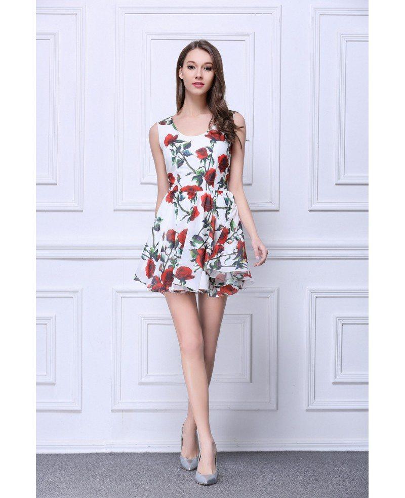 Summer Floral Printe A-Line Chiffon Short Wedding Guest Dress #DK323 ...